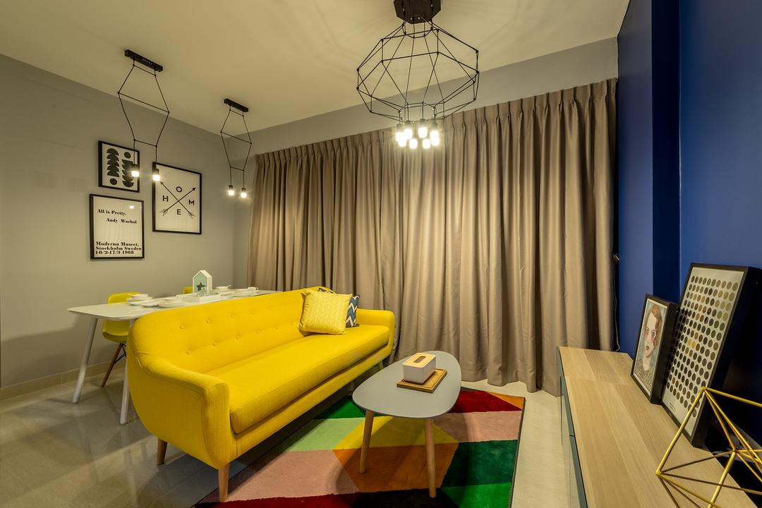 La Fiesta, Mr Shopper Studio, Eclectic, Living Room, Condo, Yellow Sofa, Colour Pop, Bright Colours, Pencil Legs, Caged Lamp, Area Rug, Geometric Rug, Wall Frames, Quirky Lights, Wall Decor, Cobalt Blue Walls, Cobalt, Curtains, Small Space, Compact Space, Couch, Furniture, Chair, Indoors, Room