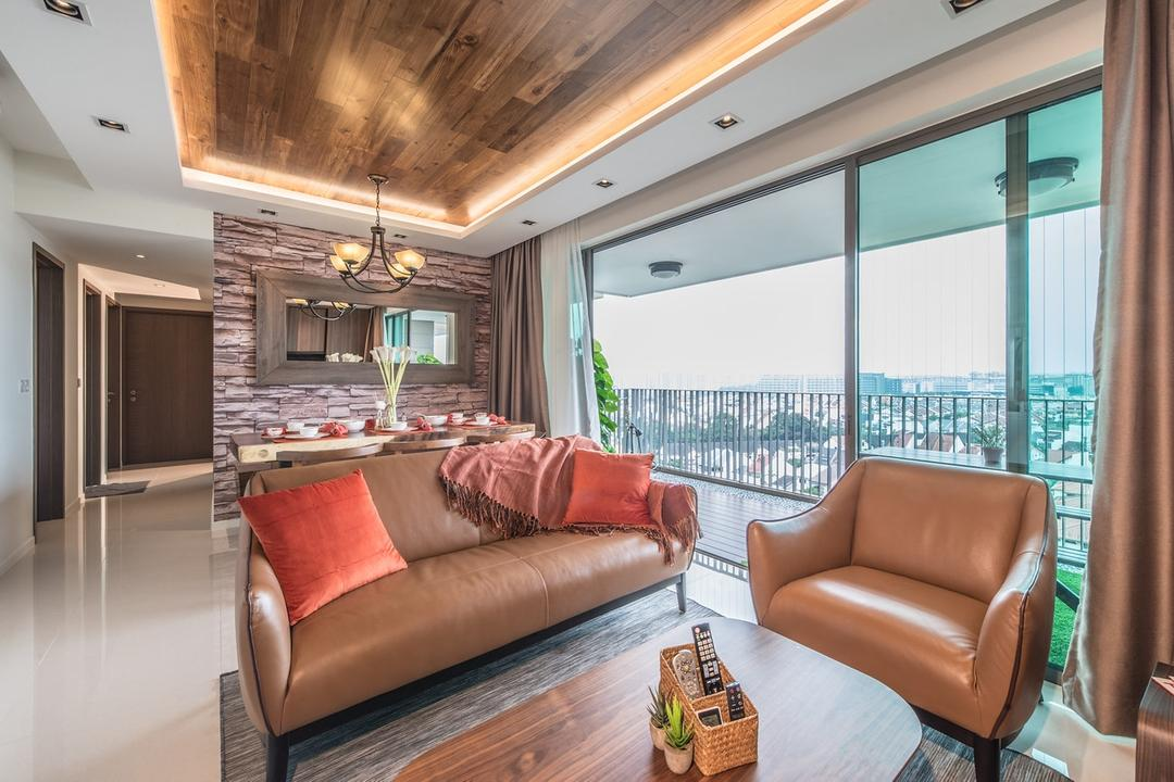 The Topiary, Mr Shopper Studio, Modern, Living Room, Condo, Hallway, Corridor, Great View, Scenic View, Timber Deck Ceiling, Timber Deck, Wood Deck, Wood Inspired, Nature, Bright And Airy, Open Concept, Couch, Furniture, Indoors, Room