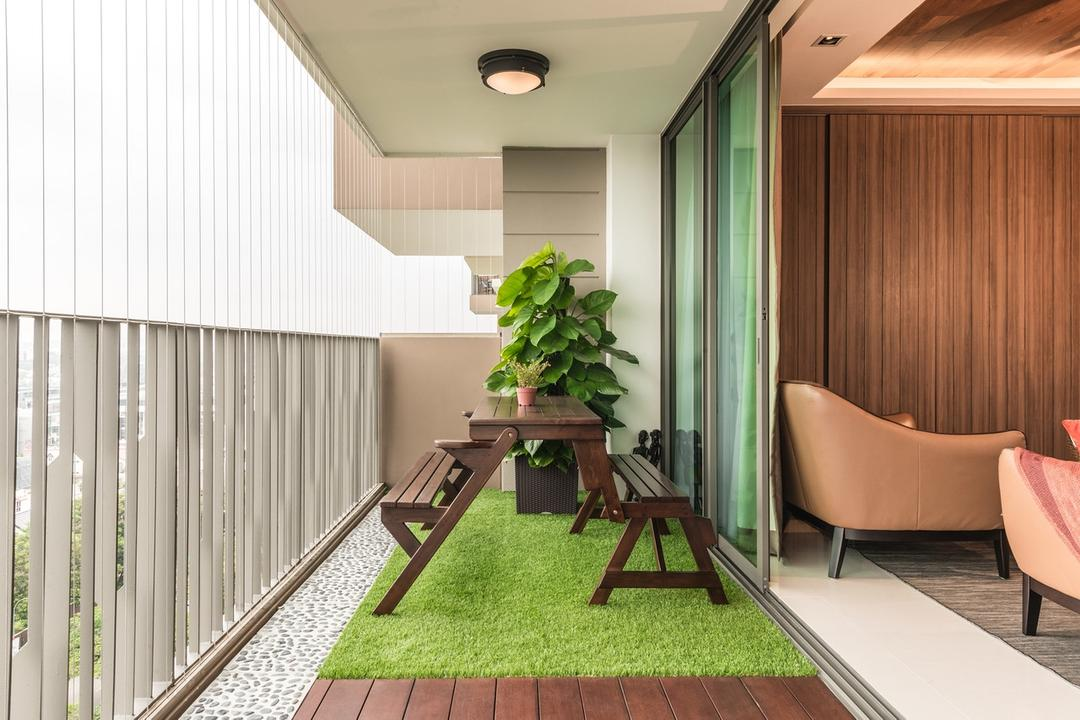 The Topiary, Mr Shopper Studio, Modern, Balcony, Condo, Outdoor Furniture, Garden Seat, Carpet Grass, Timber Decking, Pebbled Stone, Invisible Grilles, Window Grilles, Balcony Grilles, Slim Grilles, Garden Bench, Potted Plant, Nature Inspired, Resort Theme, Chair, Furniture, Backyard, Outdoors, Yard