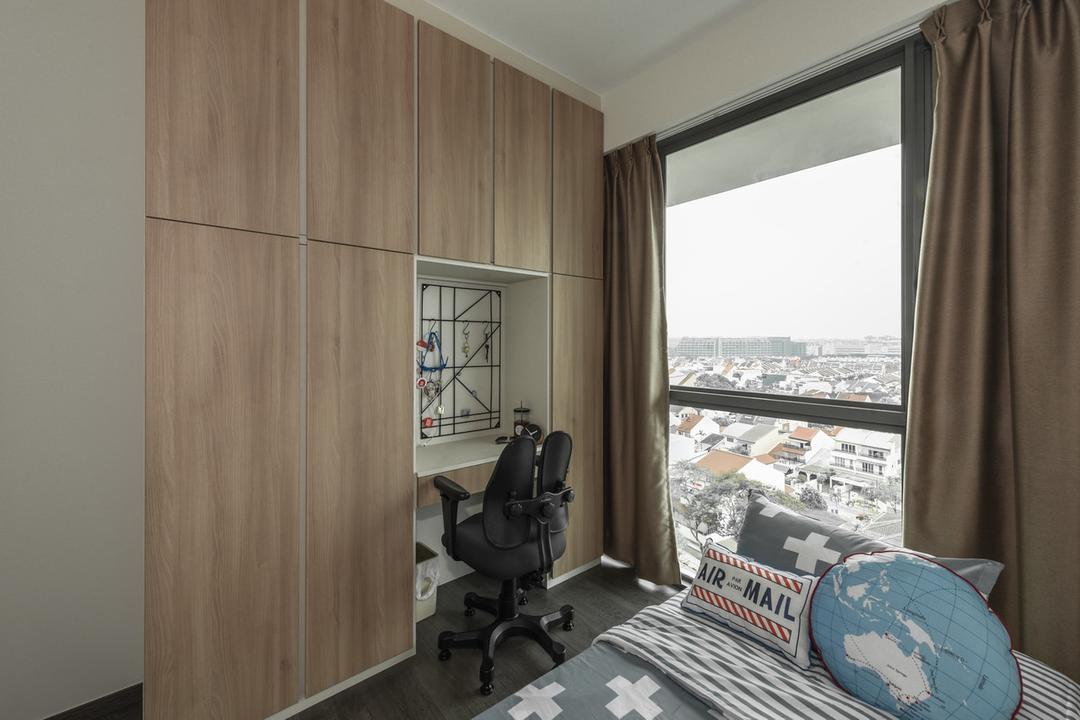 The Topiary, Mr Shopper Studio, Modern, Study, Condo, Wardrobe, Study Desk, Office Chair, Work Desk, Curtains, Kids Room, Kids Room, Teenagers Room, HDB, Building, Housing, Indoors, Bedroom, Interior Design, Room