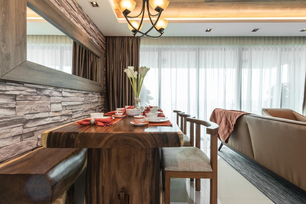 Modern, Condo, Dining Room, The Topiary, Interior Designer, Mr Shopper Studio, Craftstone, Masonry, Pendant Light, Rustic, Nature Inspired, Recycled Wood, Wooden Settee, Wooden Bench, Wood Bench, Trunk, Nature, Suar, Wooden Dining Set, Solid Wood, Chair, Furniture, Indoors, Interior Design, Room, Dining Table, Table