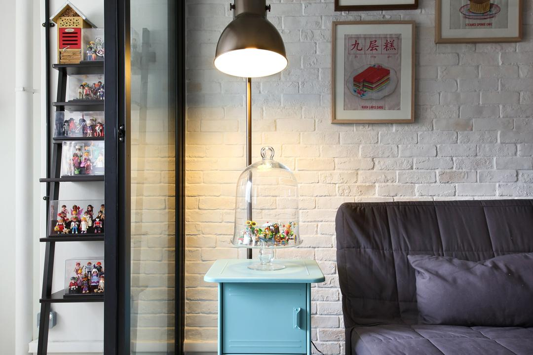 Hougang (Block 310), Hue Concept Interior Design, Retro, Living Room, HDB, Lamp Post, Painted Art, Light Fixture, Furniture, Tabletop, Lamp