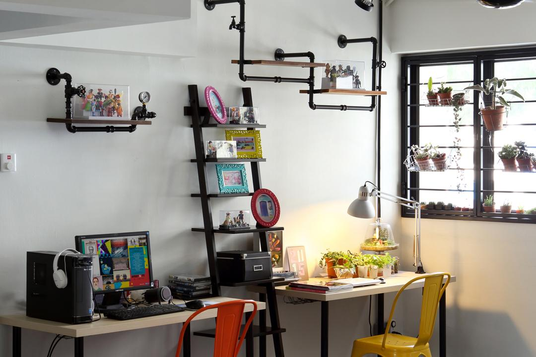 Hougang (Block 310), Hue Concept Interior Design, Retro, Study, HDB, Pendant Lighting, Ladder Shelves, Ladder Shelf, Colorful Chairs, Colourful Chairs, Appliance, Electrical Device, Oven