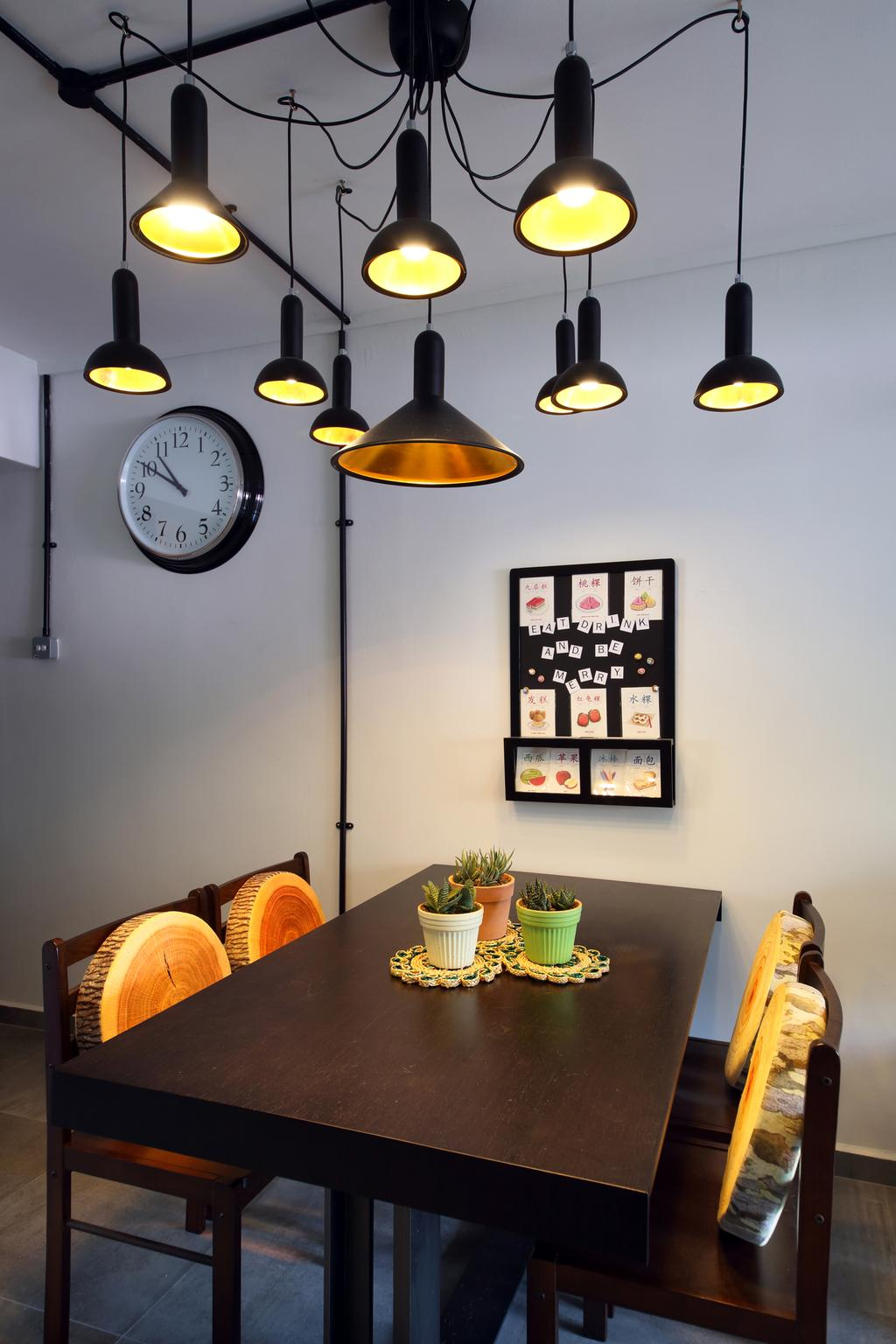 Retro, HDB, Dining Room, Hougang (Block 310), Interior Designer, Hue Concept Interior Design, Pendant Lighting, Lighting, Clock On The Wall, Brown Dining Table And Chairs, Brown Dining Set, Aloe, Flora, Plant, Food, Produce, Pumpkin, Squash, Vegetable, Wall