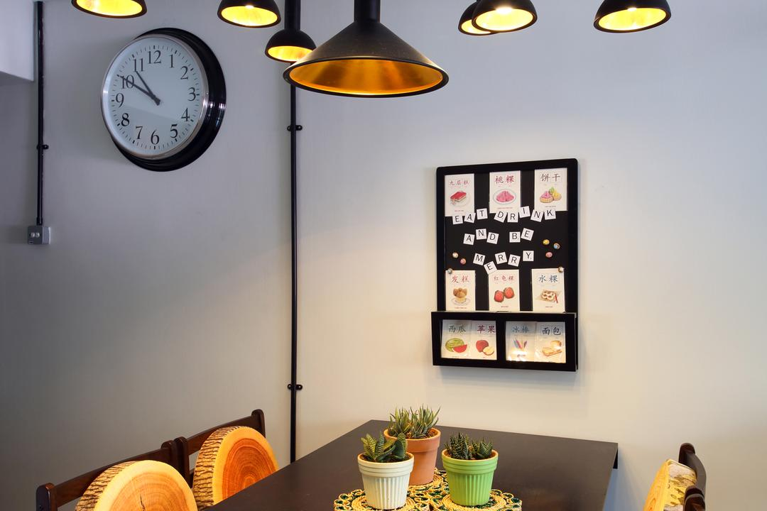 Hougang (Block 310), Hue Concept Interior Design, Retro, Dining Room, HDB, Pendant Lighting, Lighting, Clock On The Wall, Brown Dining Table And Chairs, Brown Dining Set, Aloe, Flora, Plant, Food, Produce, Pumpkin, Squash, Vegetable, Wall