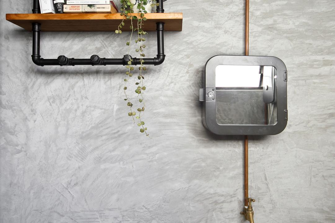 Hougang (Block 310), Hue Concept Interior Design, Retro, Bathroom, HDB, Wall Mounted Shelves, Wall Mounted Shelf, Wall Mounted Shelf On Toilet Wall, White Sink, Sink, Industrial Look
