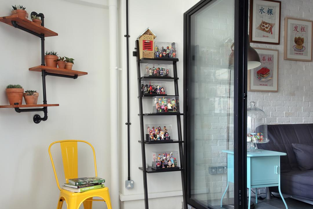 Hougang (Block 310), Hue Concept Interior Design, Retro, Balcony, HDB, Wall Mounted Shelves, Potted Plants, Studio Ceiling Lights Outdoor, Outdoor Studio Ceiling Lights, Ladder Shelves, Ladder Shelf, Sliding Door, Barrow, Transportation, Vehicle, Wheelbarrow