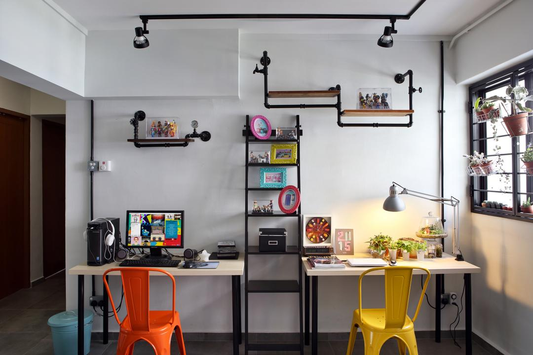 Hougang (Block 310), Hue Concept Interior Design, Retro, Study, HDB, Studio Ceiling Lighting, Colourful Chairs, Colorful Chairs, Wall Mounted Shelves