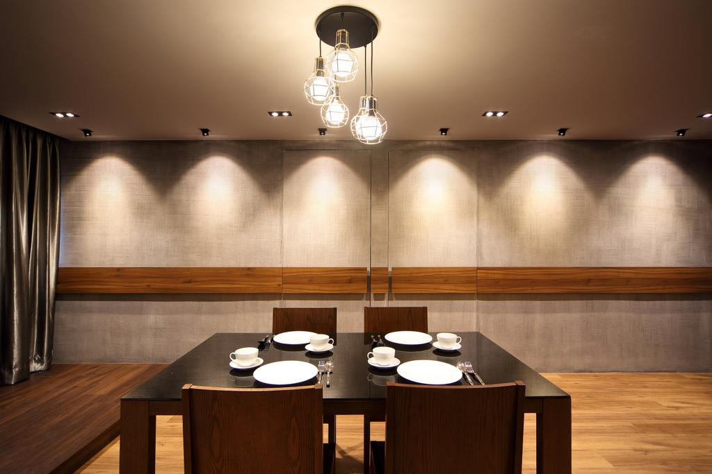 Traditional, HDB, Dining Room, Pending Road (Block 121), Interior Designer, Hue Concept Interior Design, Brown Dining Table And Chairs, Brown Dining Set, Pendant Lighting, Lighting, Indoors, Interior Design, Room, Aluminium, Dining Table, Furniture, Table