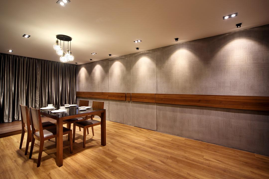 Pending Road (Block 121), Hue Concept Interior Design, Traditional, Dining Room, HDB, Brown, Woody, Warmth, Cosy, Warm, Wooden Panel, Pendant Lamp, Dining Table, Furniture, Table, Chair, Indoors, Interior Design, Room, Flooring, Hardwood, Wood
