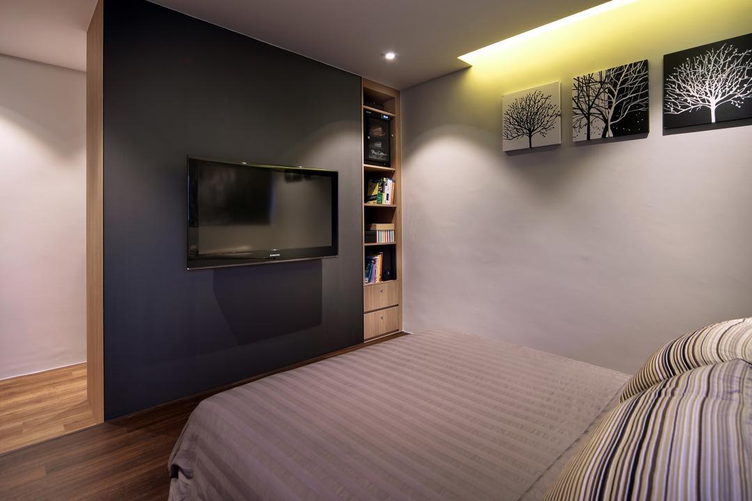 Pending Road (Block 121), Hue Concept Interior Design, Traditional, Bedroom, HDB, Sliding Door, Sliding Tv Door, Bookcase, Art, Modern Art, Outdoors, Sand, Soil, Indoors, Interior Design, Room