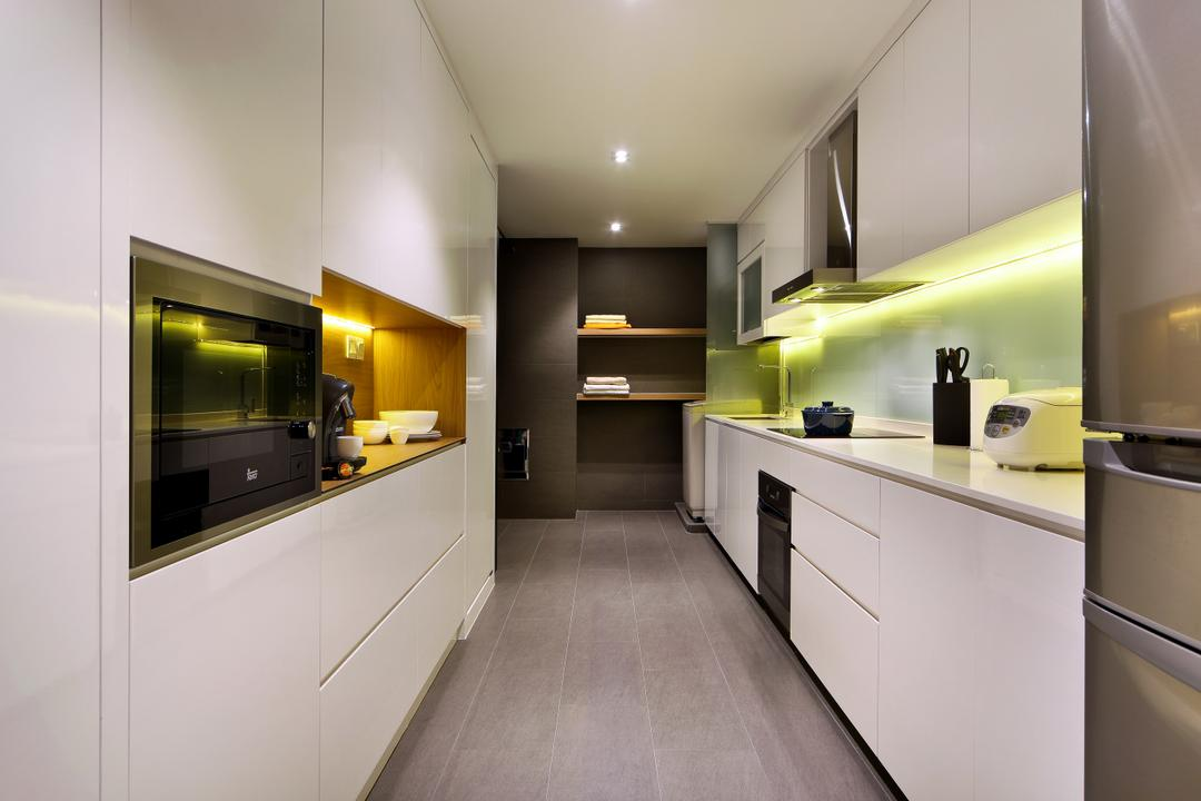 Pending Road (Block 121), Hue Concept Interior Design, Traditional, Kitchen, HDB, Lighting Underneath Cabinets, White Cabinets, Indoors, Interior Design, Flooring