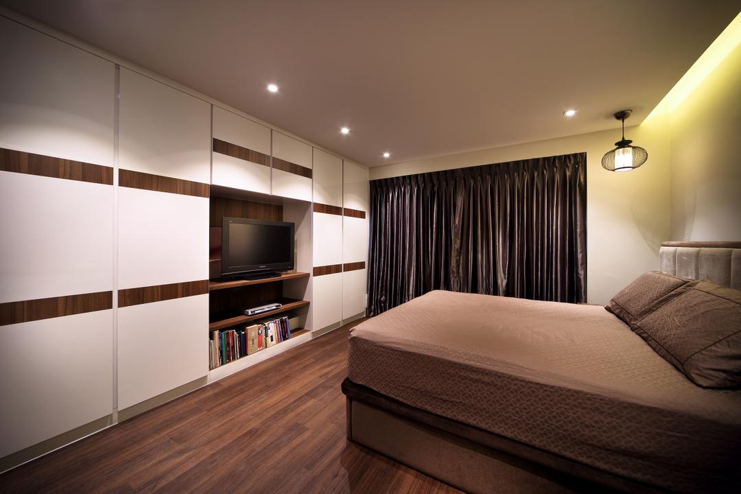 Pending Road (Block 121), Hue Concept Interior Design, Traditional, Bedroom, HDB, White Cabinet, Tv Shelf, Black Curtains, Pendant Lighting, Pendant Light, Ceiling Light, Indirect Ceiling Lighting, Electronics, Entertainment Center, Indoors, Interior Design, Room, Bed, Furniture