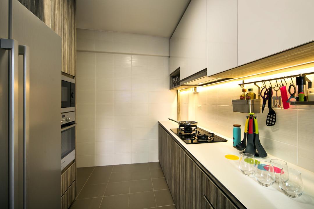 Anchorvale Link (Block 332C), Hue Concept Interior Design, Traditional, Kitchen, HDB, White Cabinet, White Kitchen Table Top, Lighting Under Kitchen Cabinet, Bottle