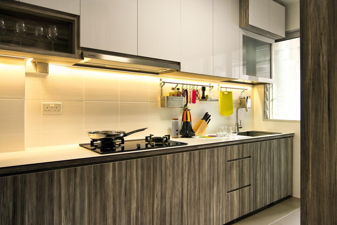 Anchorvale Link (Block 332C), Hue Concept Interior Design, Traditional, Kitchen, HDB, Kitchen Laminate, Countertop, Brown, Tiled Backsplash, Backsplash, Indoors, Interior Design, Room, Lighting