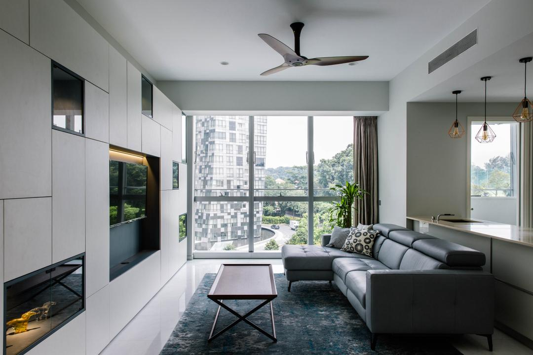 Reflections at Keppel Bay, Schemacraft, Contemporary, Living Room, Condo, Airy, Bright, Coffee Table, L Shaped Sofa, Leather Sofa, Potted Plant, HDB, Building, Housing, Indoors, Loft, Couch, Furniture, Table, Room
