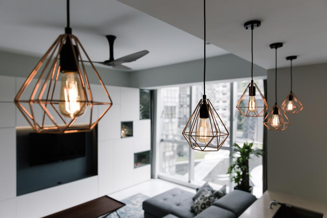 Reflections at Keppel Bay, Schemacraft, Contemporary, Kitchen, Condo, Caged Lamps, Caged Lamp, Pendant Lighting, Exposed Bulbs, Flora, Jar, Plant, Potted Plant, Pottery, Vase