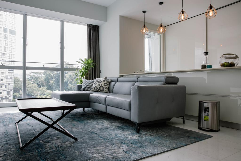 Contemporary, Condo, Living Room, Reflections at Keppel Bay, Interior Designer, Schemacraft, Bright And Airy, L Shaped Sofa, Coffee Table, Leather Sofa, Partition, Open Concept, Caged Lamps, Pendant Lamps, Flora, Jar, Plant, Potted Plant, Pottery, Vase, Chair, Furniture, Couch