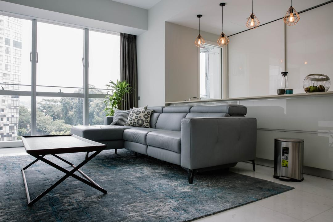 Reflections at Keppel Bay, Schemacraft, Contemporary, Living Room, Condo, Bright And Airy, L Shaped Sofa, Coffee Table, Leather Sofa, Partition, Open Concept, Caged Lamps, Pendant Lamps, Flora, Jar, Plant, Potted Plant, Pottery, Vase, Chair, Furniture, Couch