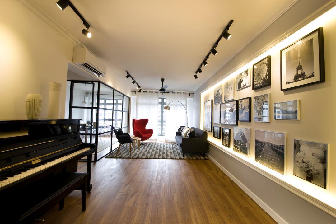 Anchorvale Cresent, Edge Interior, Vintage, Living Room, HDB, Black Track Light, Trackie, Track Lighting, Wall Art, Painting, Parquet Floor, Wooden Floor, Flooring