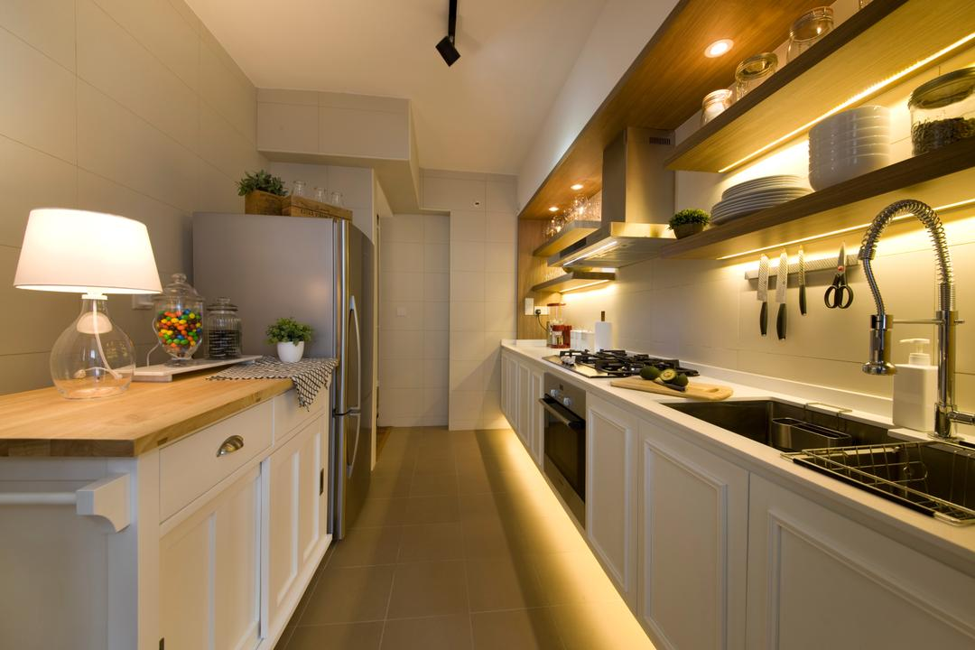 Anchorvale Cresent, Edge Interior, Vintage, Kitchen, HDB, White Counter, Laminate, Concealed Lighting, Concealed Light, Indoors, Interior Design, Lamp
