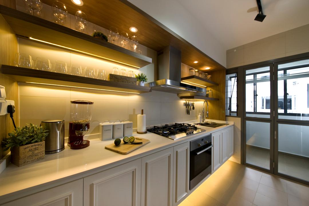 Anchorvale Cresent, Edge Interior, Vintage, Kitchen, HDB, Counter Top, Laminate, White Counter, Flora, Jar, Plant, Potted Plant, Pottery, Vase, Appliance, Electrical Device, Oven, Indoors, Interior Design