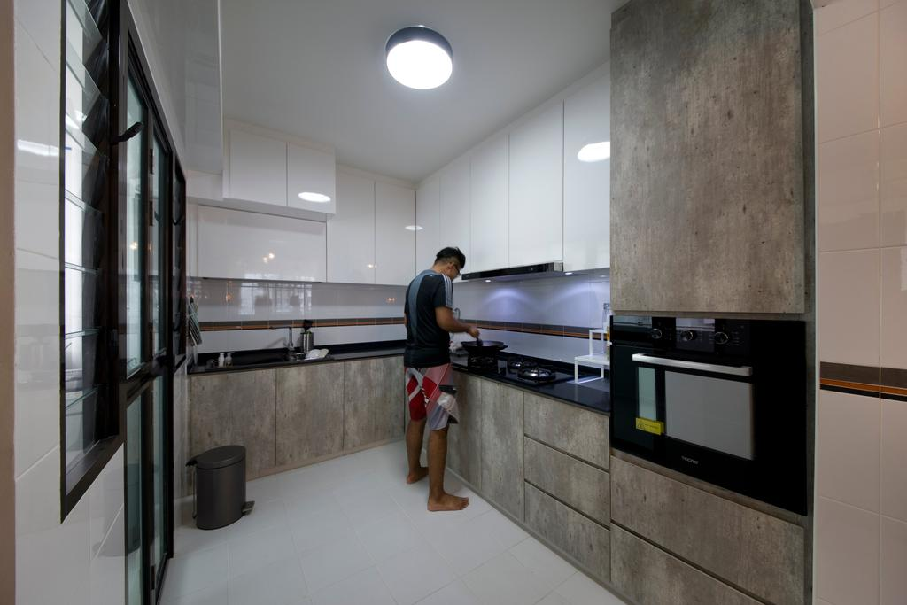 Industrial, HDB, Kitchen, Segar Road (Block 549A), Interior Designer, Aart Boxx Interior, Pendant Lighting, Lighting, Building, Housing, Indoors