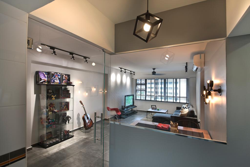 Industrial, HDB, Living Room, Segar Road (Block 549A), Interior Designer, Aart Boxx Interior, Pendant Lighting, Lighting, Glass Doors, Doors, Light Fixture