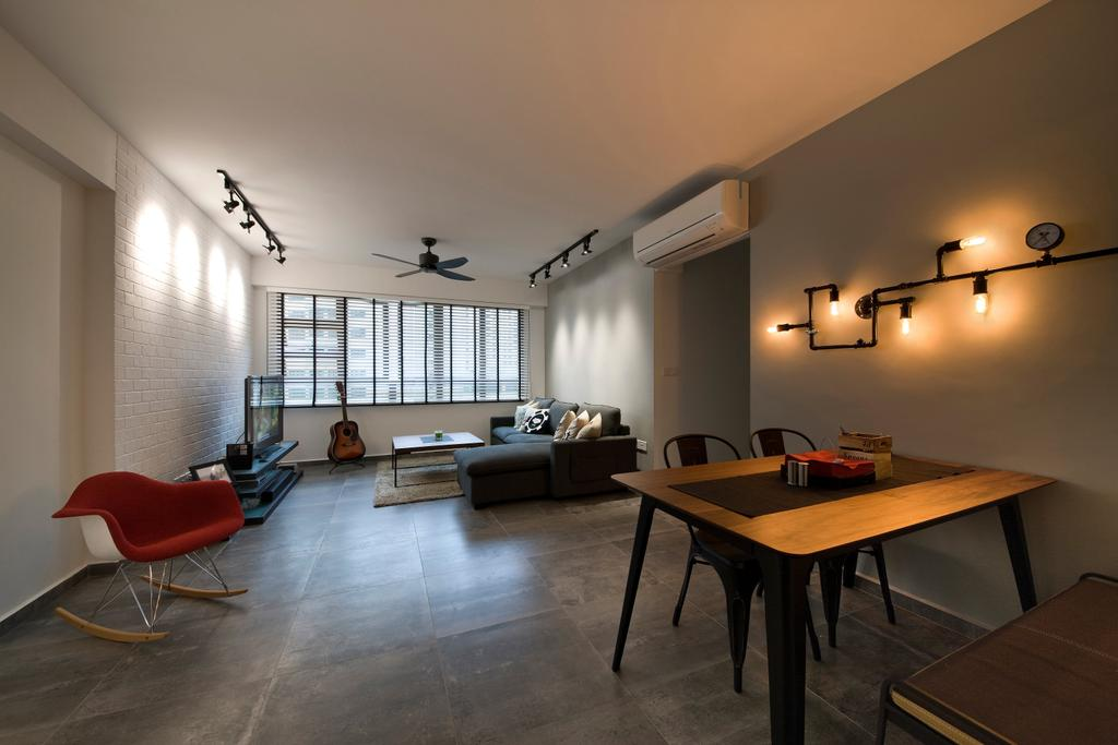 Industrial, HDB, Living Room, Segar Road (Block 549A), Interior Designer, Aart Boxx Interior, Red Chair, Rocking Chair, Chair, Red, Wall Mounted Lighting, Lighting, Woden Table, Table, Furniture, Flooring, Indoors, Room, Couch, Dining Room, Interior Design