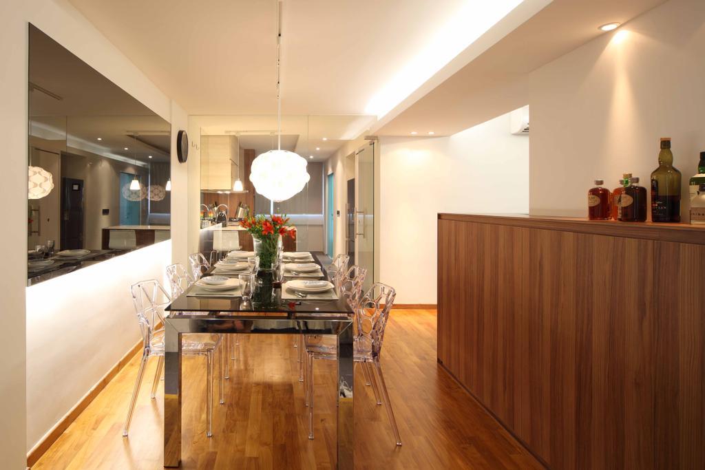 Contemporary, HDB, Bishan Street 13 (Block 170), Interior Designer, Design by Fifteen Pte Ltd, Flooring, Hardwood, Wood, Dining Room, Indoors, Interior Design, Room