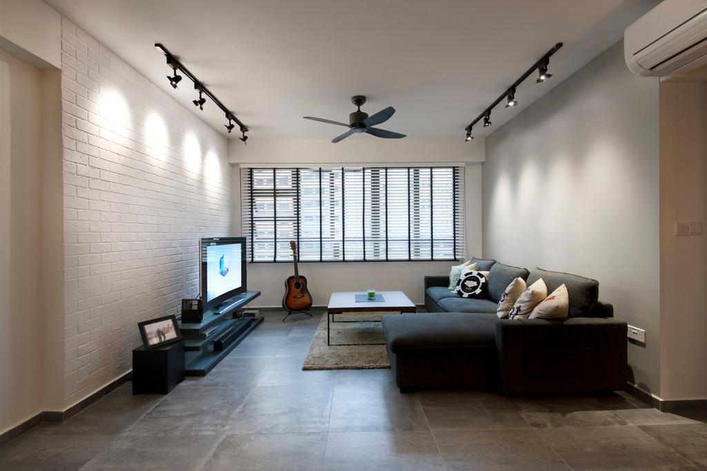 Industrial, HDB, Living Room, Segar Road (Block 549A), Interior Designer, Aart Boxx Interior, Ceiling Lighting, Lighting, Ceiling Fan, Fan, L Shaped Sofa, Sofa, Flatscreen Tv, Tv, Brick Walls, Walls, Carpet, Couch, Furniture