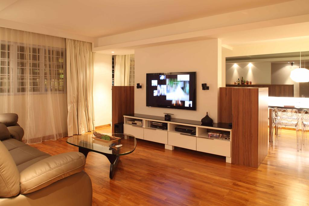 Contemporary, HDB, Living Room, Bishan Street 13 (Block 170), Interior Designer, Design by Fifteen Pte Ltd, Modern Contemporary Living Room, Wooden Floor, Wall Mounted Television, Television Console, Glass Table, Sling Curtain, Flooring, Indoors, Room