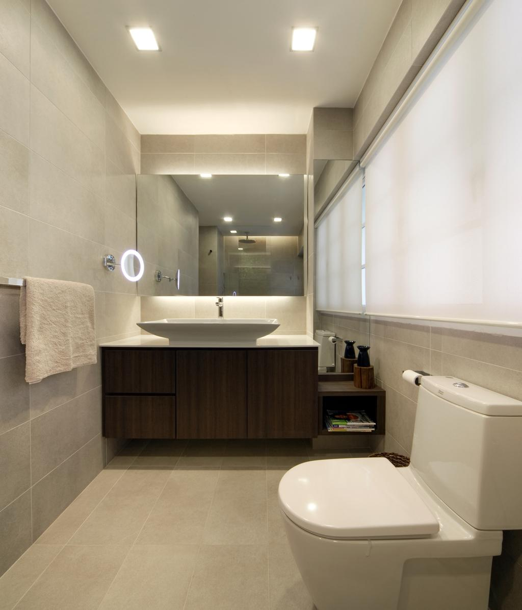 Contemporary, Landed, Bathroom, Chuan Place, Interior Designer, Design by Fifteen Pte Ltd, Modern Contemporary Bathroom, Ceramic Floor, Wooden Bathroom Cabinet, White Sink Countertop, Protruding Sink, Recessed Lights, Hidden Interior Lighting, Toilet, Indoors, Interior Design, Room