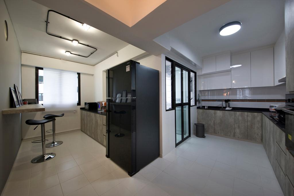Industrial, HDB, Kitchen, Segar Road (Block 549A), Interior Designer, Aart Boxx Interior, Ceiling Lighting, Lighting, Bar Stools, Bar Chairs, Chairs, White Cabinets, White, Wall Mounted Table, Table, Chair, Furniture, Building, Housing, Indoors, Loft