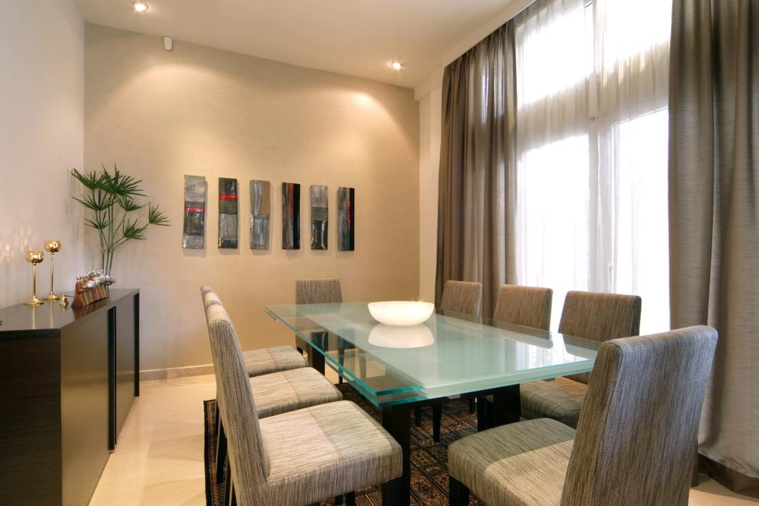 Chuan Place, Design by Fifteen Pte Ltd, Contemporary, Dining Room, Landed, Modern Contemporary Dining Room, Recessed Lights, Rug, Glass Dining Table, Dining Chair, Ceramic Floor, Sling Curtain, Flora, Jar, Plant, Potted Plant, Pottery, Vase, Indoors, Interior Design, Room, Chair, Furniture, Dining Table, Table