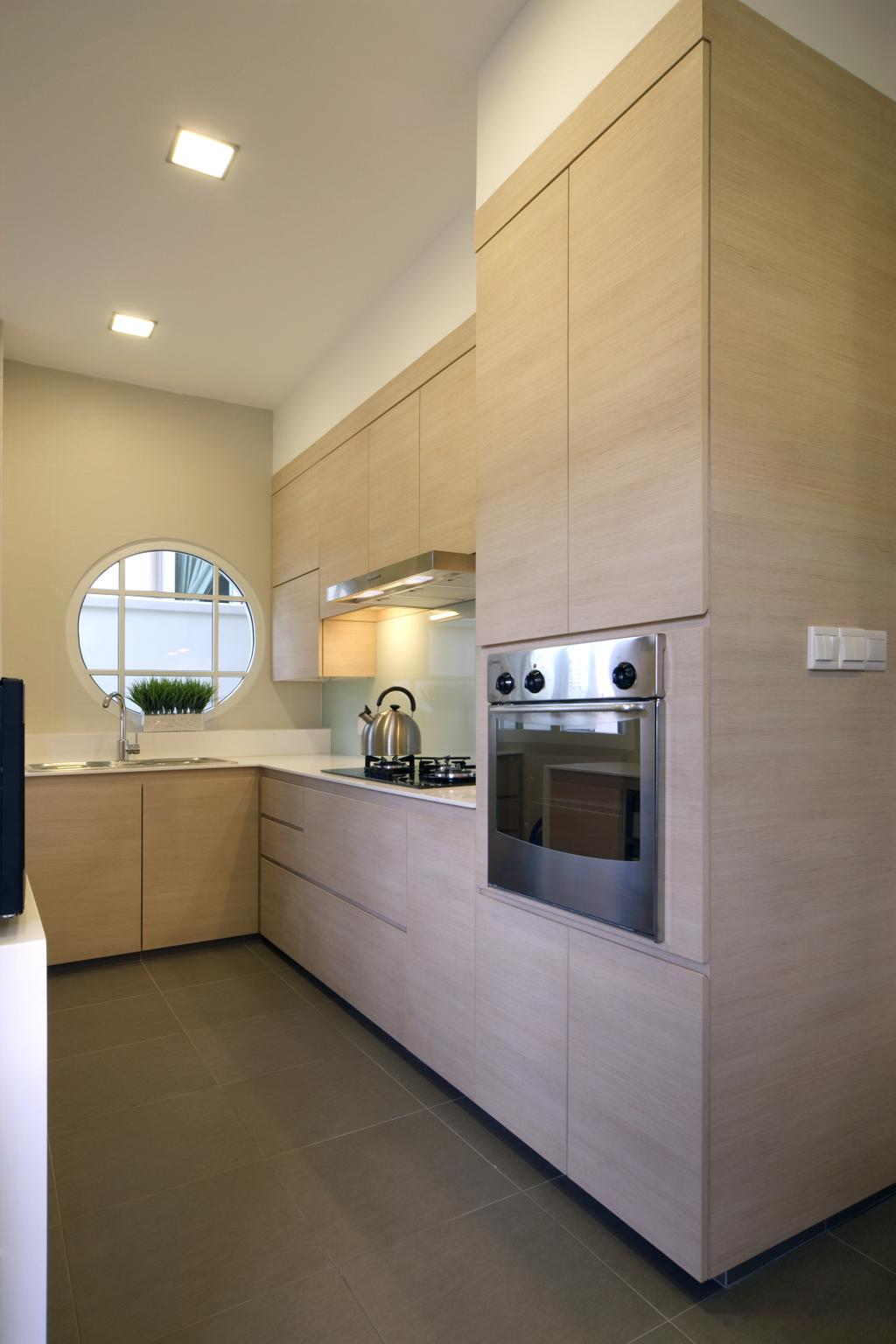 Contemporary, Landed, Kitchen, Chuan Place, Interior Designer, Design by Fifteen Pte Ltd, Architecture, Building, Skylight, Window, Indoors, Interior Design, Room, Appliance, Electrical Device, Oven
