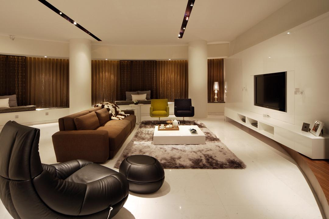 St Regis, Design by Fifteen Pte Ltd, Modern, Living Room, Condo, Modern Contemporary Living Room, Recessed Lights, Wall Mounted Television, White Television Console, Black Lounge Chair, Rug, Brown Sofa, Sling Curtain, Spacious, Chair, Furniture, Couch, Indoors, Interior Design