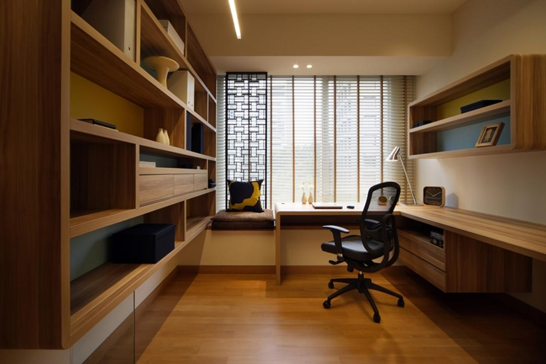 St Regis, Design by Fifteen Pte Ltd, Modern, Study, Condo, Modern Contemporary Study Room, Wall Mounted Wooden Desk, Wooden Shelves, Wall Mounted Wooden Shelves, Recessed Lihts, High Back Study Chair, Wooden Floor, Chair, Furniture