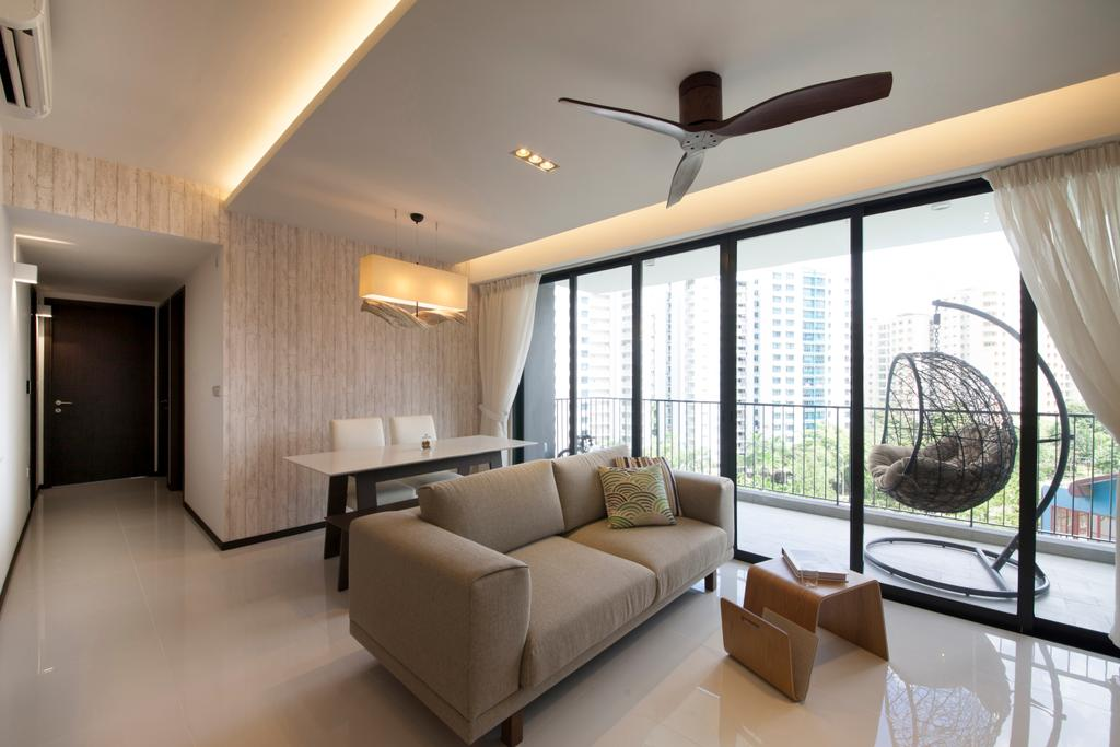 Minimalistic, HDB, Living Room, Waterbay (Block 45A), Interior Designer, Prozfile Design, Couch, Furniture, Ball, Sphere, Indoors, Interior Design