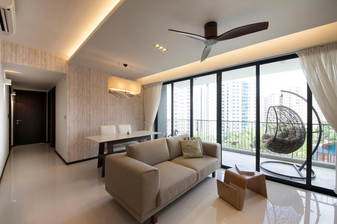 Waterbay (Block 45A), Prozfile Design, Minimalistic, Living Room, HDB, Couch, Furniture, Ball, Sphere, Indoors, Interior Design