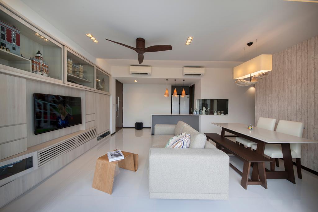 Minimalistic, HDB, Living Room, Waterbay (Block 45A), Interior Designer, Prozfile Design, Indoors, Interior Design, Couch, Furniture, Dining Room, Room