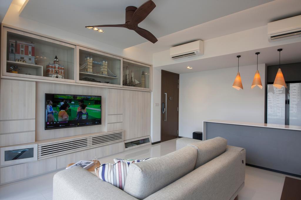 Minimalistic, HDB, Living Room, Waterbay (Block 45A), Interior Designer, Prozfile Design, Couch, Furniture