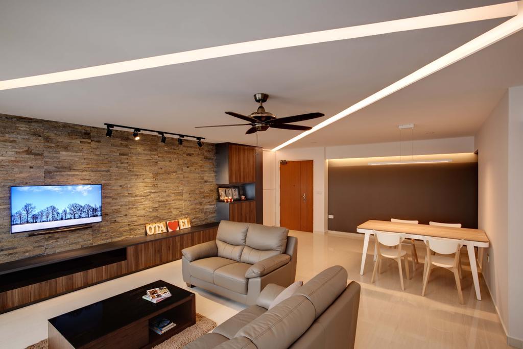 Minimalistic, HDB, Living Room, Anchorvale Harvest (Block 331B), Interior Designer, Space Atelier, Concealed Lighting
