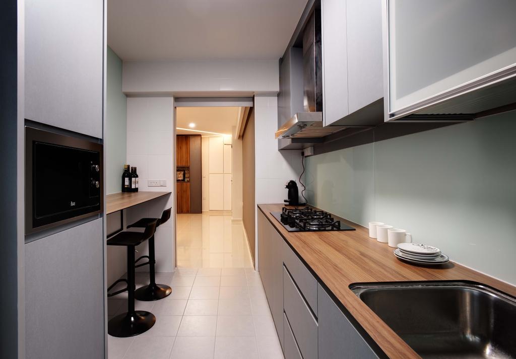 Minimalistic, HDB, Kitchen, Anchorvale Harvest (Block 331B), Interior Designer, Space Atelier, Kompacplus