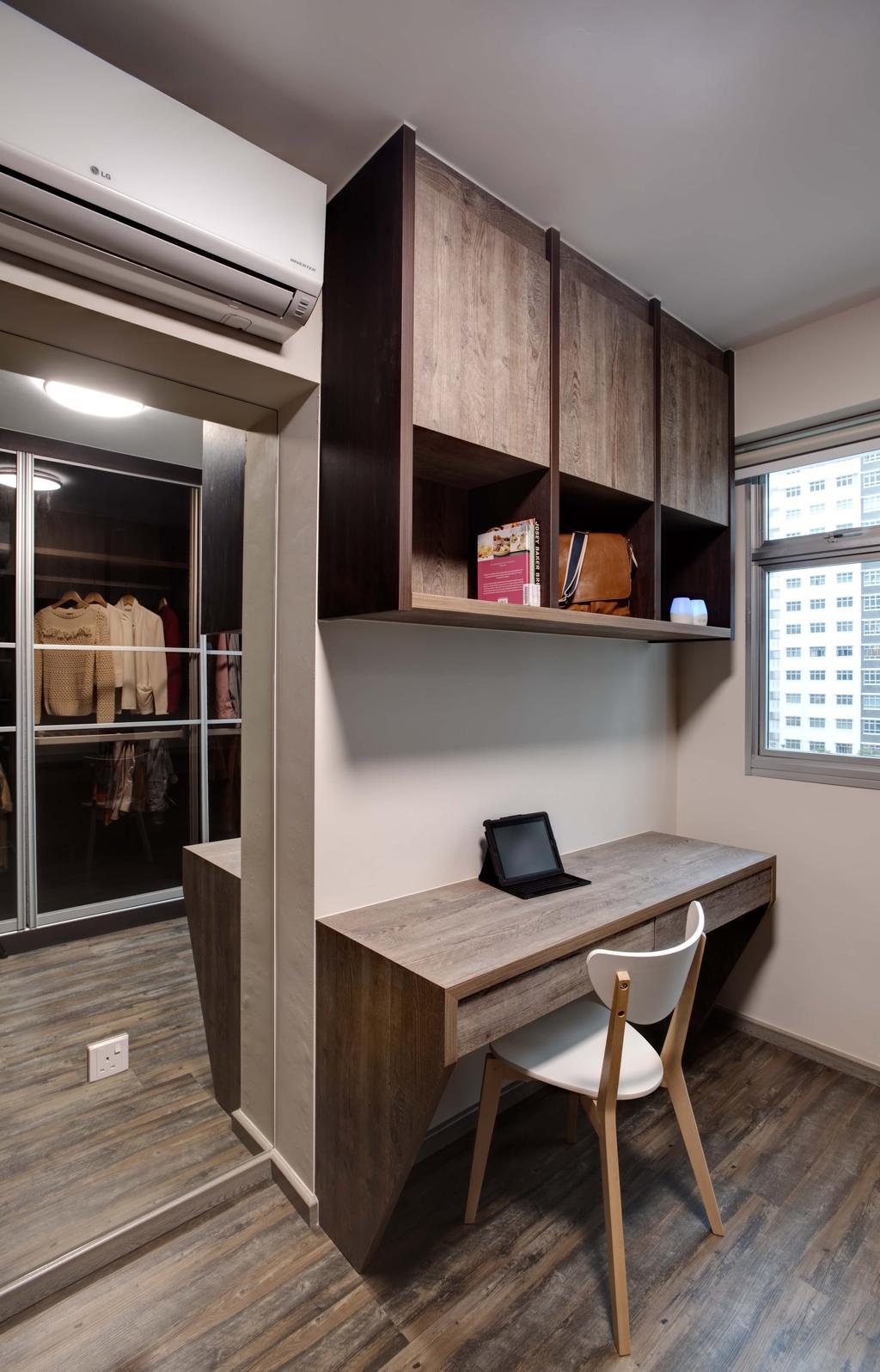 Minimalistic, HDB, Study, Anchorvale Harvest (Block 331B), Interior Designer, Space Atelier, Wooden Flooring, Wood Cabinet, Study Desk