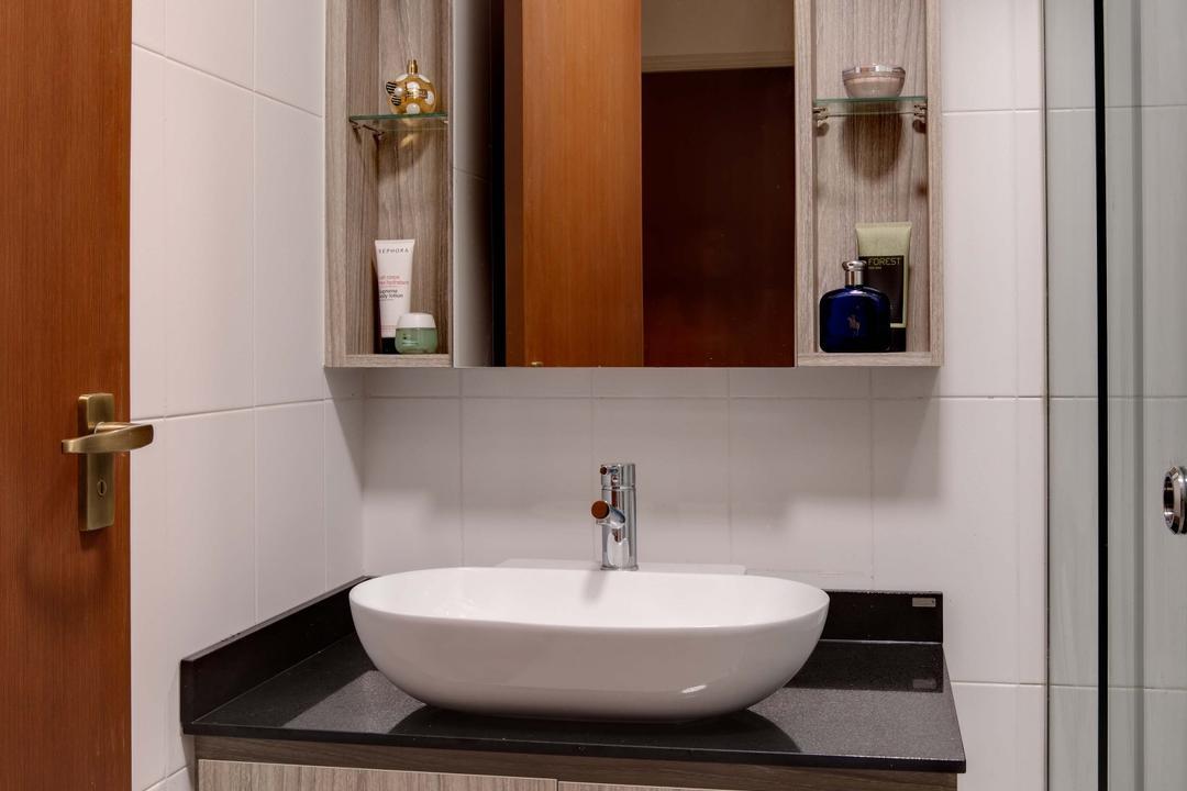 Anchorvale Harvest (Block 331B), Space Atelier, Minimalistic, Bathroom, HDB, Wall Mount Cabinet, Sink, Basin