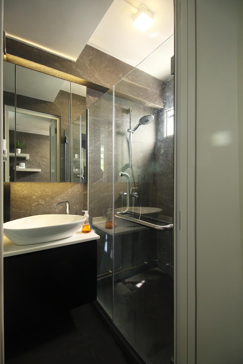 Modern, HDB, 63 Marine Drive, Interior Designer, ChanInteriors, Bathroom, Indoors, Interior Design, Room, Door, Sliding Door, Bathtub, Tub