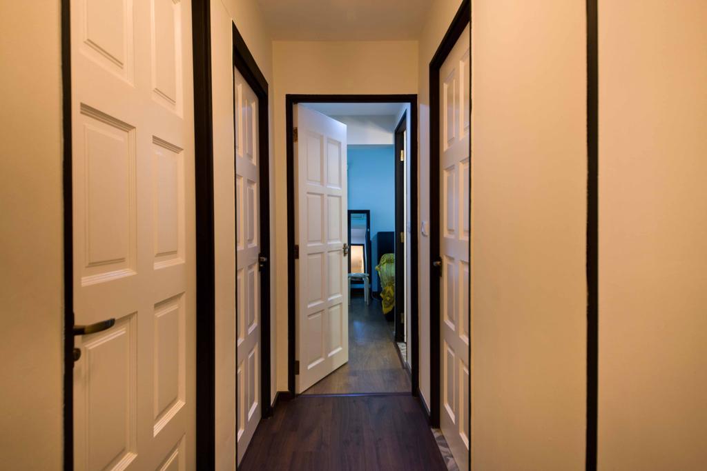 Industrial, HDB, Living Room, Strathmore Avenue (Block 51), Interior Designer, Chapter One Interior Design, Corridor, Walkway, White Doors, Wooden Doors