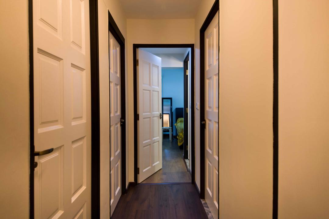 Strathmore Avenue (Block 51), Chapter One Interior Design, Industrial, Living Room, HDB, Corridor, Walkway, White Doors, Wooden Doors
