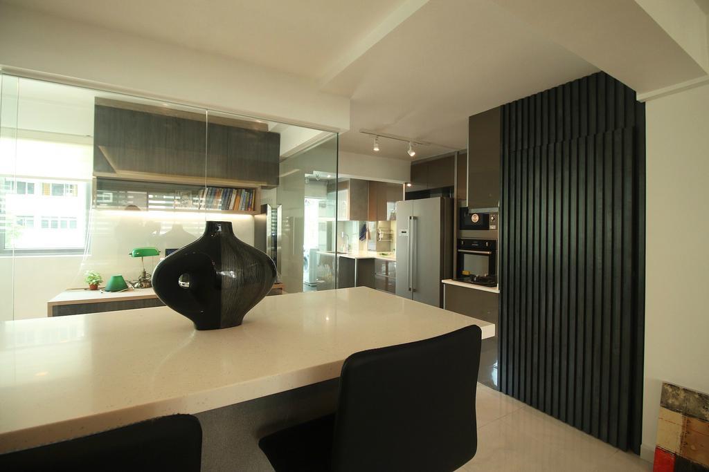 Modern, HDB, 63 Marine Drive, Interior Designer, ChanInteriors, Dining Room, Indoors, Interior Design, Room, Chair, Furniture, Dining Table, Table, Jar, Pottery, Vase